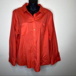 Chico's Orange Cotton Button Down Size 3